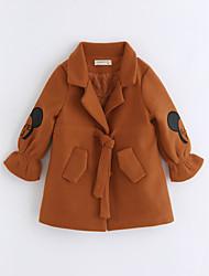 cheap -Girls' Cartoon Trench Coat, Cotton Long Sleeves Camel