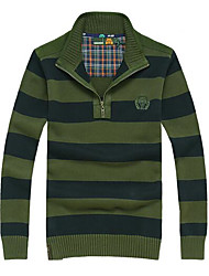 cheap -Men's Daily Regular Pullover,Striped Stand Long Sleeves Cotton Medium Micro-elastic