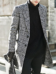 Men's Daily Going out Cute Street chic Winter Fall Trench Coat,Print Shirt Collar Long Sleeves Long Polyester