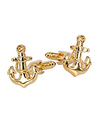cheap -Ship Anchor Golden Cufflinks Copper Stylish Gift Men's Costume Jewelry