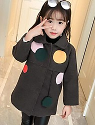 cheap -Girls' Patchwork Jacket & Coat,Rayon Polyester Long Sleeves Casual Gray