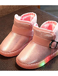 baratos -Para Meninas Sapatos Couro Ecológico Inverno Botas de Neve / Conforto Botas para Casual Preto / Vermelho / Rosa claro