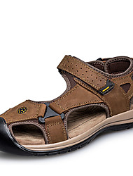cheap -Men's Shoes Cowhide Nappa Leather Leather Summer Comfort Sandals for Casual Office & Career Black Brown