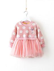 cheap -Toddler Girls' Casual Polka Dot / Geometric Long Sleeve Dress / Cotton
