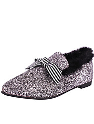 Women's Shoes Customized Materials Winter Fall Comfort Loafers & Slip-Ons Flat Bowknot For Casual Dress Pink Silver Black