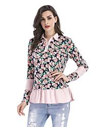 abordables -Tee-shirt Femme, Fleur - Mosaïque Manche Gigot Col Rond Claudine Spandex