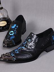 Недорогие -Муж. Обувь для новинок Кожа Весна / Лето Винтаж / Удобная обувь / Шинуазери (китайский стиль) Туфли на шнуровке Черный / Свадьба / Для вечеринки / ужина
