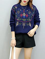 Lungo Pullover Da donna-Casual Tinta unita Con stampe Monocolore Rotonda Manica lunga Lana Cotone Spesso Elasticizzato