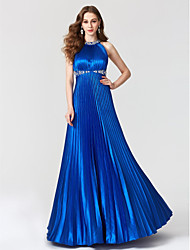 A-Line Jewel Neck Floor Length Satin Formal Evening Dress with Beading Pleats by TS Couture®