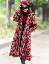 cheap -Women's Daily Going out Simple Casual Winter Fall Trench Coat,Floral Print Shirt Collar Long Sleeves Long Cotton Rayon Polyester