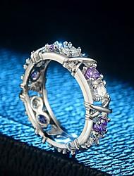 preiswerte -Damen Kubikzirkonia / Strass Kubikzirkonia / Silber Verlobungsring / Bandring - Retro / Elegant Silber / Purpur Ring Für Hochzeit / Party
