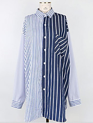 Women's Daily Wear Active Sexy Shirt,Solid Striped Shirt Collar Long Sleeves Nylon