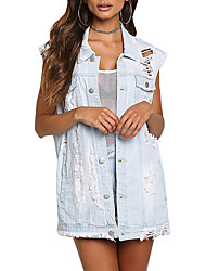 cheap -Women's Going out Club Simple Casual Street chic Spring Fall Denim Jacket,Solid Shirt Collar Sleeveless Regular Polyester Retro Hole