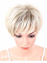 cheap -Women Synthetic Wig Capless Short Wavy Blonde Highlighted/Balayage Hair Layered Haircut With Bangs Party Wig Celebrity Wig Natural Wigs