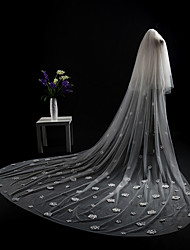 cheap -Two-tier Cut Edge Modern Wedding Veil Cathedral Veils Headpiece 53 Appliques Lace Tulle