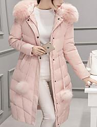 Manteau Doudoune Femme simple Décontracté / Quotidien Couleur Pleine-Polyester Duvet de Canard Blanc Manches Longues