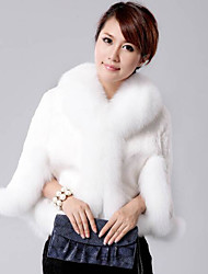 Women's Party Going out Simple Casual Winter Fall Fur Coat,Solid Long Sleeves Short Rex Rabbit Fur Fur Trim