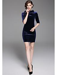 Gaine Robe Femme Soirée Couleur Pleine Asymétrique Au dessus du genou Velours Hiver Taille Normale Elastique Epais