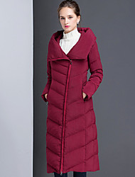 Пальто Винтаж Пуховик Для женщин,Однотонный На каждый день Полиэстер Длинный рукав