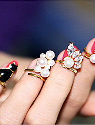 cheap -Women's Nail Finger Ring / Open Cuff Ring - Imitation Pearl Dainty, Statement, Classic One Size Gold For Evening Party / Bar