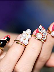 abordables -Femme Cuff Anneau Anneau de doigt d'ongle Strass Perle imitée Or Imitation de perle Alliage Forme Géométrique Classique Décontracté
