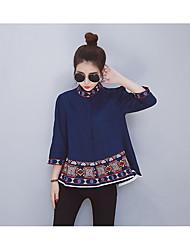 cheap -Women's Daily Active Spring Fall/Autumn Shirt,Lolita Crew Neck 3/4 Length Sleeves Cotton Medium