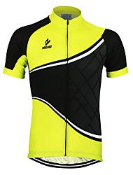 Arsuxeo Cycling Jersey Men's Short Sleeves Bike Jersey Top Quick Dry Anatomic Design Front Zipper Breathable Reflective Trim/Fluorescence