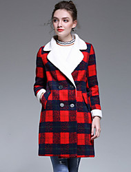cheap -YHSP Women's Going out Plus Size Simple Casual Street chic Sophisticated Winter Coat,Print Regular Wool Polyester