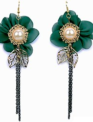 cheap -Women's Drop Earrings Imitation Pearl Classic Rock Korean Elegant Fabric Alloy Leaf Jewelry For Daily Going out