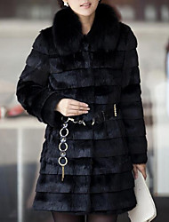 cheap -Women's Daily Going out Street chic Winter Fall Fur Coat,Solid Round Neck Long Sleeves Long Faux Fur Fur Trim