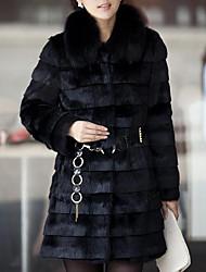Недорогие -Для женщин На выход На каждый день Зима Осень Пальто с мехом Круглый вырез,Уличный стиль Однотонный Длинная Длинный рукав,Искусственный