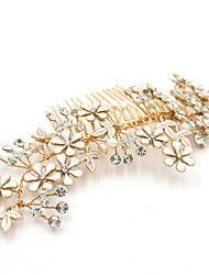 cheap -Pearl Rhinestone Large Size Stripes Hair Combs Flowers with Rhinestone Pearls Flower 1pc Headpiece