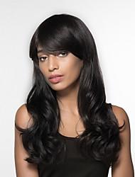 Недорогие -Волнистый Машинное плетение Натуральные волосы парики Боковая часть Длинные Черный Мед блондинку