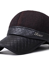 cheap -Men's PU Baseball Cap,Casual Patchwork Winter Button