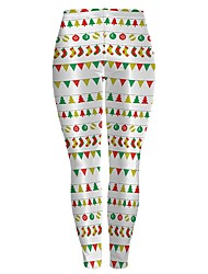 cheap -Santa Suits Pants Female Christmas Festival / Holiday Halloween Costumes Light Purple Yellow Dark Green Ink Blue Rainbow Pattern