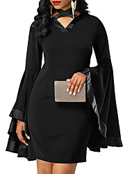 cheap -Women's Flare Sleeve Bodycon Dress - Solid, Bow Mini Halter