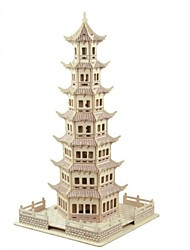 cheap -3D Puzzles Model Building Kit Wood Model Tower 3D Kids Hot Sale Wood Houses Fashion New Modern/Contemporary All Ages 6 Years Old and Above