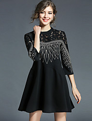 cheap -YHSP Women's Daily Going out Casual Street chic A Line Loose Little Black Dress,Embroidered Round Neck Above Knee 3/4 Sleeve Polyester Fall