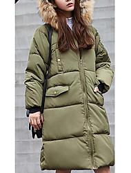 preiswerte -Damen Daunen Mantel,Lang Einfach Lässig/Alltäglich Solide-Polyester Weiße Entendaunen Langarm Schwarz / Grau / Grün
