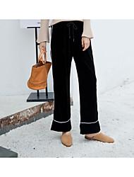 baratos -Feminino Vintage Casual Cintura Alta Sem Elasticidade Perna larga Chinos Calças,Listrado Fibra Sintética Todas as Estações