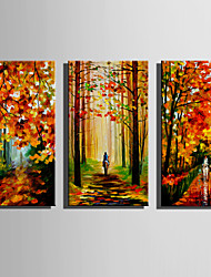 cheap -Hand-Painted Landscape Vertical,Rustic Modern Three Panels Canvas Oil Painting For Home Decoration