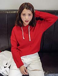 economico -Per donna Manica lunga Pullover Tinta unita Con cappuccio