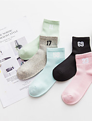 cheap -Women's Medium Socks, Cotton Nylon Letter & Number Five-piece Suit Rainbow