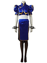 cheap -Inspired by Street Fighter Chun-Li Video Game Cosplay Costumes Cosplay Suits Dresses Solid Half-Sleeve Dress Belt Socks
