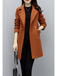 cheap -Women's Daily Daily Wear Street chic Winter Fall Coat,Solid Peak Long Sleeves Regular Polyester Stylish