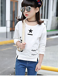 cheap -Girls' Solid Simple Blouse,Cotton Winter Fall Long Sleeves Casual White Khaki