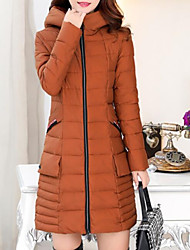 Women's Long Padded Coat,Casual Going out Solid-Cotton Long Sleeves