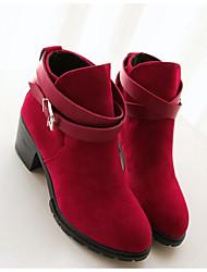 Недорогие -Жен. Обувь Резина Нубук Зима Осень Модная обувь Ботинки Сапоги до середины икры для Повседневные Черный Красный Миндальный