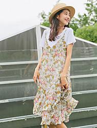 Feminino balanço Vestido,Para Noite Casual Floral Com Alças Médio Sem Manga Poliéster Cintura Alta Micro-Elástica Leve Transparência