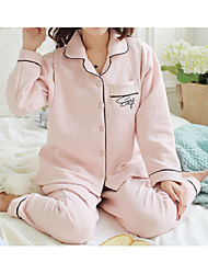 cheap -Women's Suits Pajamas,Solid Color Cotton Polyester Blushing Pink